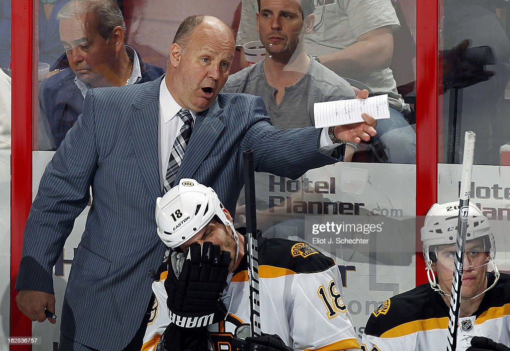 Head Coach Claude Julien of the Boston Bruins directs his team from the bench against the Florida Panthers at the BB&T Center on February 24, 2013 in Sunrise, Florida.