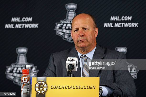 Head coach Claude Julien of the Boston Bruins is interviewed after defeating the Chicago Blackhawks 20 in Game Three of the 2013 NHL Stanley Cup...