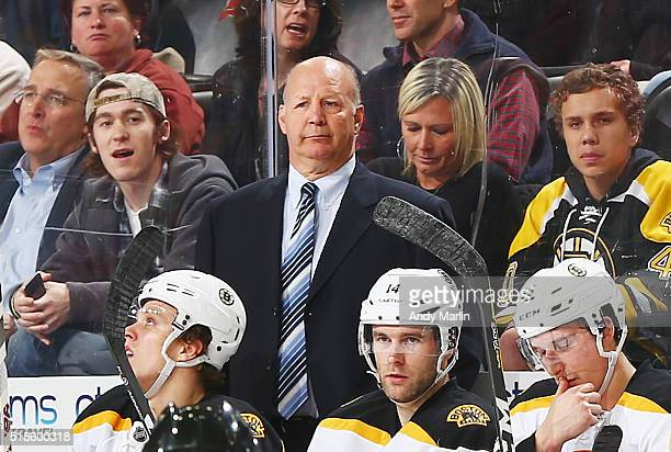 Head coach Claude Julien of the Boston Bruins looks on during the game against the New Jersey Devils at the Prudential Center on March 29 2016 in...