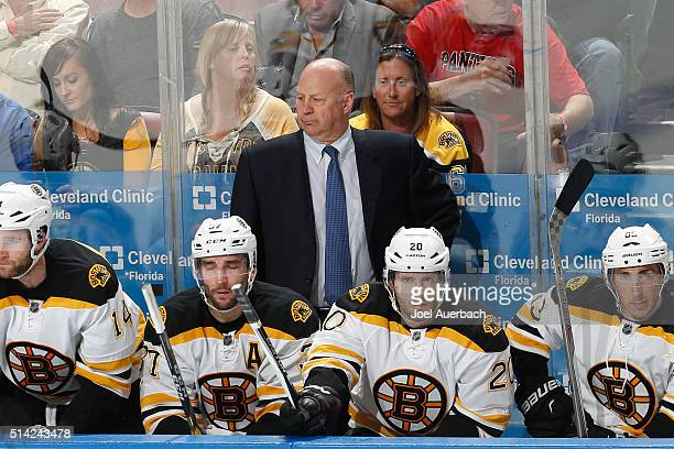 Head coach Claude Julien of the Boston Bruins looks on during third period action against the Florida Panthers at the BBT Center on March 7 2016 in...