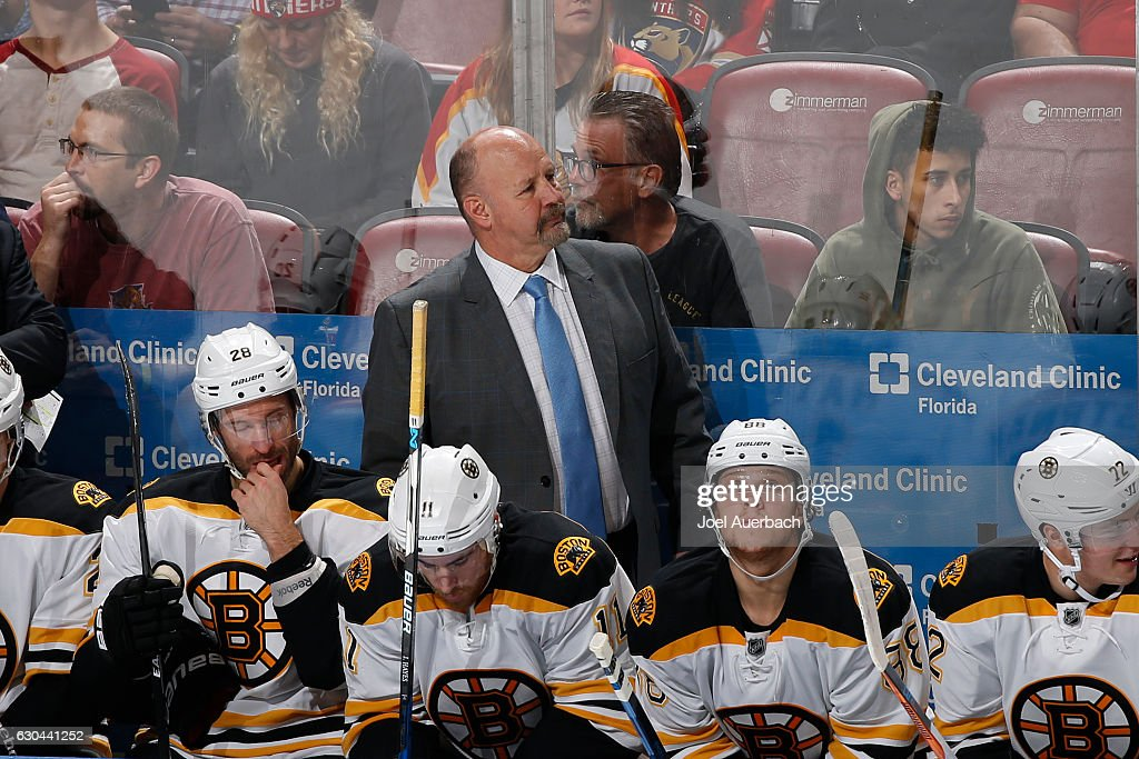 Head coach Claude Julien of the Boston Bruins looks up ice during third period action against the Florida Panthers at the BB&T Center on December 22, 2016 in Sunrise, Florida. The Bruins defeated the Panthers 3-1.
