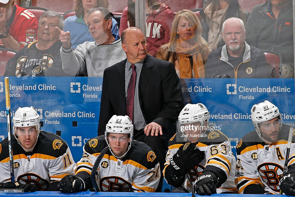 Head coach Claude Julien of the Boston Bruins looks up ice during third period action against the Florida Panthers at the BB&T Center on January 7, 2017 in Sunrise, Florida. The Bruins defeated the Panthers 4-0.