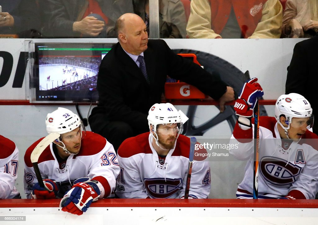 Head coach Claude Julien of the Montreal Canadiens looks on from the bench while playing the Detroit Red Wings at Joe Louis Arena on April 8, 2017 in Detroit, Michigan.
