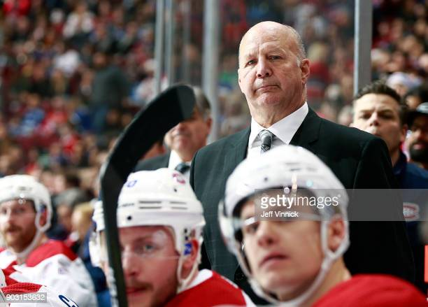Head coach Claude Julien of the Montreal Canadiens looks on from the bench during their NHL game against the Vancouver Canucks at Rogers Arena...