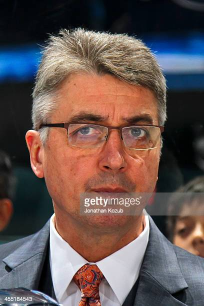 Head Coach Claude Noel of the Winnipeg Jets looks on from the bench prior to puck drop against the Chicago Blackhawks at the MTS Centre on November...