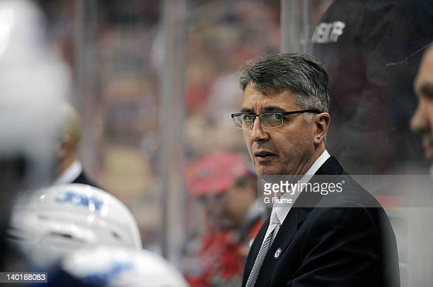 Head coach Claude Noel of the Winnipeg Jets watches the game against the Washington Capitals at the Verizon Center on February 9 2012 in Washington DC