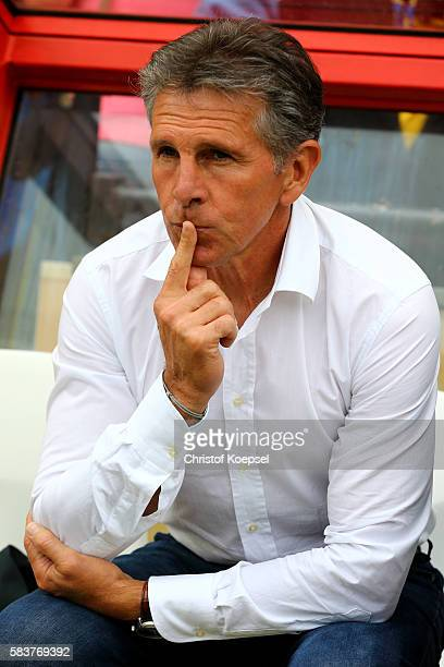 Head coach Claude Puel of Southampton sits on the bench during the friendly match between Twente Enschede and FC Southampton at Q20 Stadium on July...