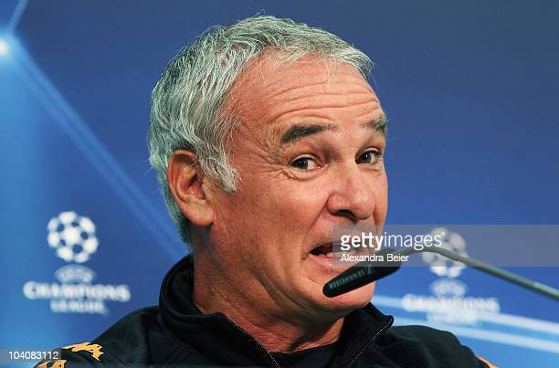 Head coach Claudio Ranieri of AS Roma answers journalists questions ahead of the Champions League first round match between FC Bayern Muenchen and AS...