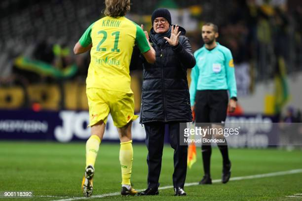 Head coach Claudio Ranieri of Nantes celebrates as Rene Krhin just scored a goal during the Ligue 1 match between Toulouse and Nantes at Stadium...