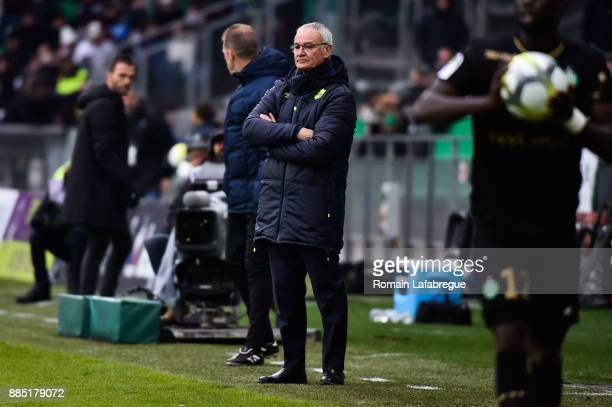 Head coach Claudio Ranieri of Nantes during the Ligue 1 match between AS Saint Etienne and Nantes at Stade GeoffroyGuichard on December 3 2017 in...