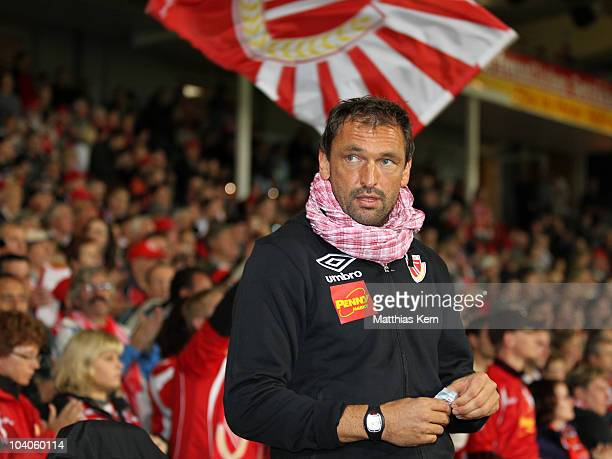 Head coach Claus Dieter Wollitz of Cottbus is seen prior to the Second Bundesliga match between FC Energie Cottbus and Karlsruher SC at Stadion der...