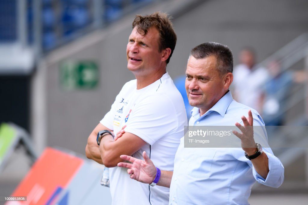 Head coach Claus Schromm of Haching and President Manfred Schwabl of Haching look on prior to the 3. Liga match between KFC Uerdingen 05 and SpVgg Unterhaching at Grotenburg-Stadion on July 29, 2018 in Duisburg, Germany.