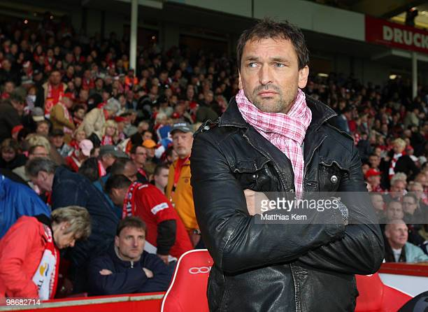 Head coach Claus-Dieter Wollitz of Cottbus is seen prior to the Second Bundesliga match between FC Energie Cottbus and 1.FC Union Berlin at Stadion...