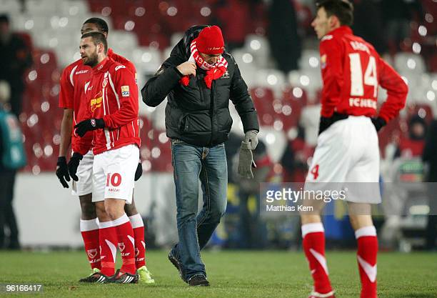 Head coach Claus-Dieter Wollitz of Cottbus shows his frustration after the Second Bundesliga match between FC Energie Cottbus and MSV Duisburg at the...