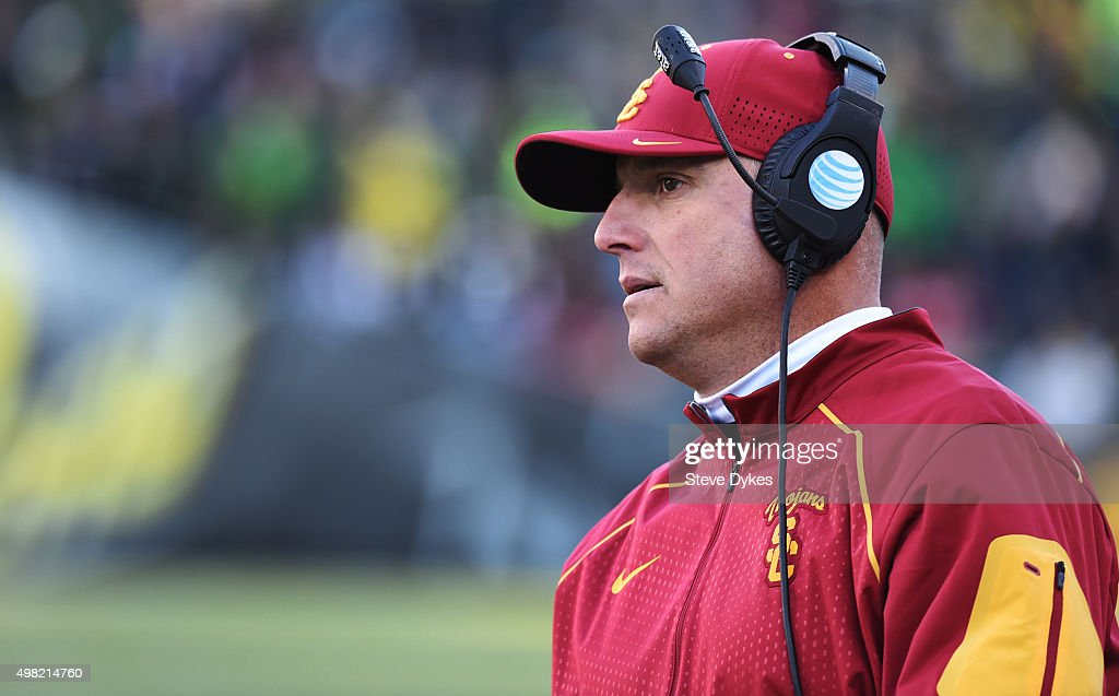 Head coach Clay Helton looks on from the sidelines during the third quarter of the game against the Oregon Ducks at Autzen Stadium on November 21, 2015 in Eugene, Oregon. The Ducks won the game 48-28.