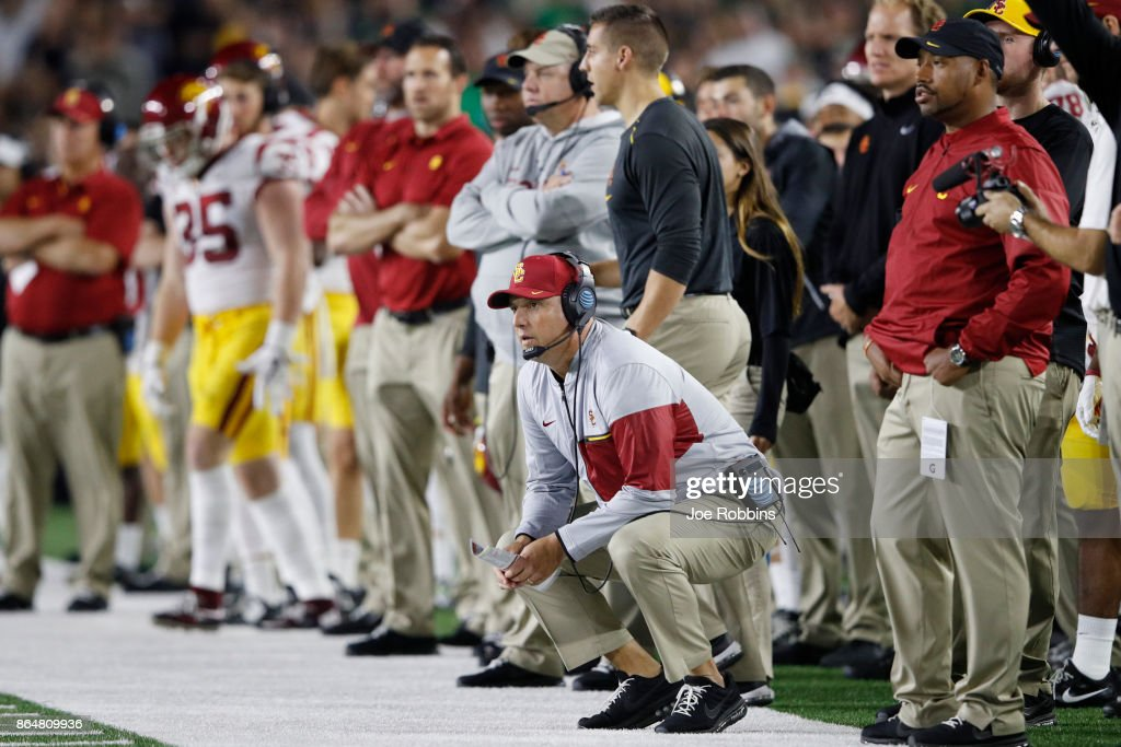 Head coach Clay Helton of the USC Trojans reacts after a missed field goal in the second quarter of a game against the Notre Dame Fighting Irish at Notre Dame Stadium on October 21, 2017 in South Bend, Indiana.