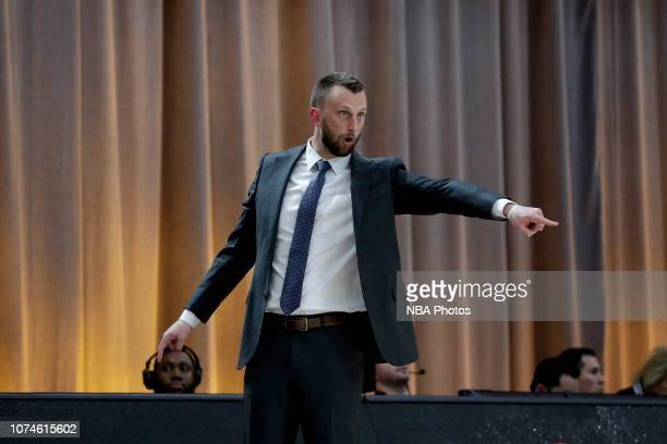 Head Coach Connor Johnson of the Delaware Blue Coasts looks on against the Salt Lake City Stars during the NBA G League Winter Showcase at Mandalay...