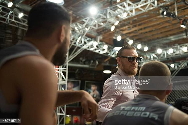 Head coach Conor McGregor chats with his team during the filming of The Ultimate Fighter: Team McGregor vs Team Faber at the UFC TUF Gym on July 27,...
