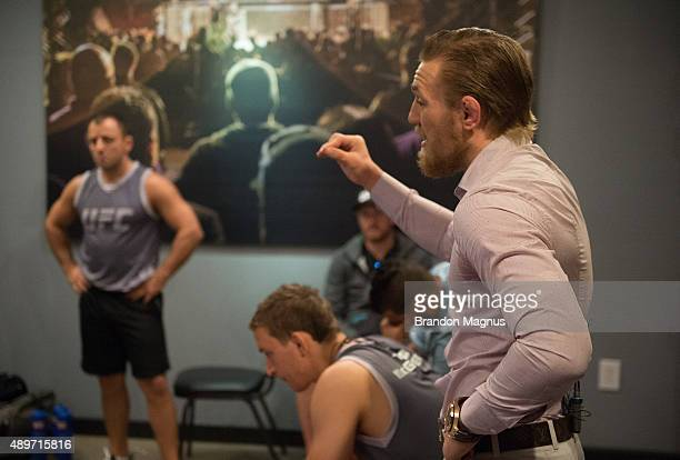 Head coach Conor McGregor speaks to his team during the filming of The Ultimate Fighter: Team McGregor vs Team Faber at the UFC TUF Gym on July 27,...