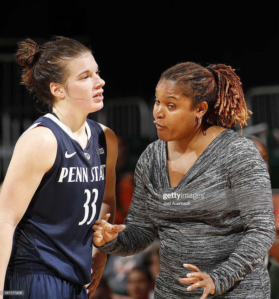 Head coach Coquese Washingtonof the Penn State Lady Lions talks to Maggie Lucas #33 late in the second half during a time out against the Miami Hurricanes on November 29, 2012 at the BankUnited Center in Coral Gables, Florida. Miami defeated Penn State 69-65.