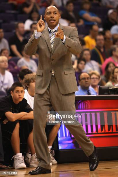 Head coach Corey Gaines of the Phoenix Mercury directs his team during the WNBA game against the San Antonio Silver Stars at US Airways Center on...