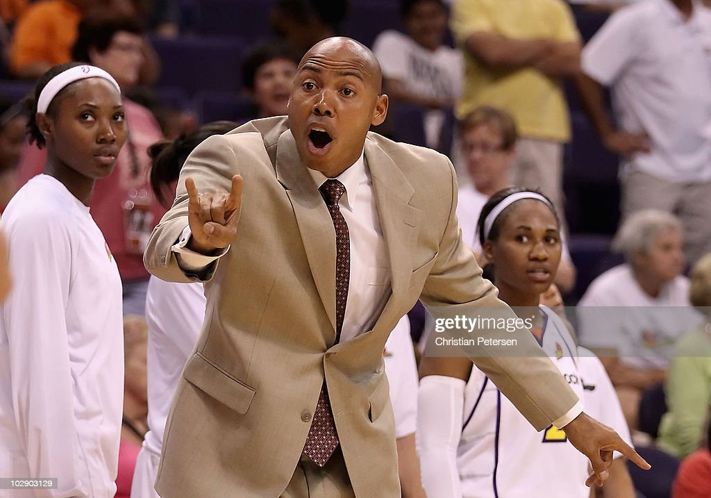 Head coach Corey Gaines of the Phoenix Mercury reacts to a call during the WNBA game against the Seattle Storm at US Airways Center on July 14, 2010 in Phoenix, Arizona. The Storm defeated the Mercury 111-107 in triple overtime.