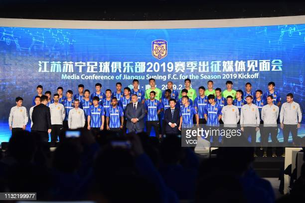 Head coach Cosmin Olaroiu of Jiangsu Suning and players of Jiangsu Suning attend the Media Conference of Jiangsu Suning F.C. For the Season 2019 on...
