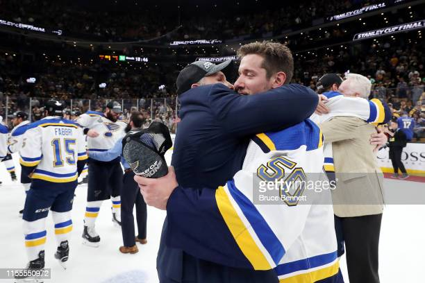 Head coach Craig Berube and Jordan Binnington of the St Louis Blues celebrate their 41 victory over the Boston Bruins to win Game Seven of the 2019...