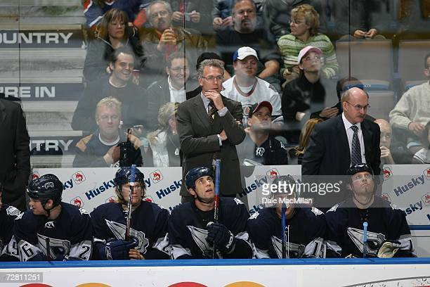 Head coach Craig MacTavish of the Edmonton Oilers looks on during the game against the Detroit Red Wings at Rexall Place on November 18 2006 in...