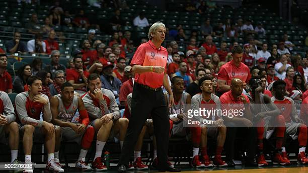 Head coach Craig Neal of the New Mexico Lobos coaches from the sidelines during the game against the Auburn Tigers at the Stan Sheriff Center during...