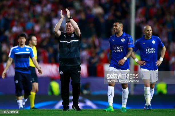 Head coach Craig Shakespeare of Leicester City FC acknowledges their fans after the UEFA Champions League Quarter Final first leg match between Club...