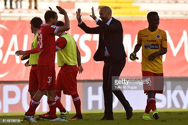 Head coach Cristian Bucchi of Perugia celebrates with players after winning the Serie B match between AC Perugia and AS Cittadella at Stadio Renato...