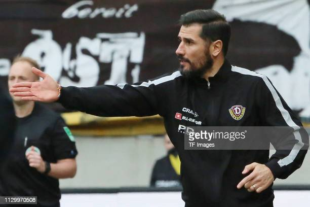 Head coach Cristian Fiel of Dynamo Dresden gestures during the second Bundesliga match between Dynamo Dresden and VfL Bochum 1848 at...