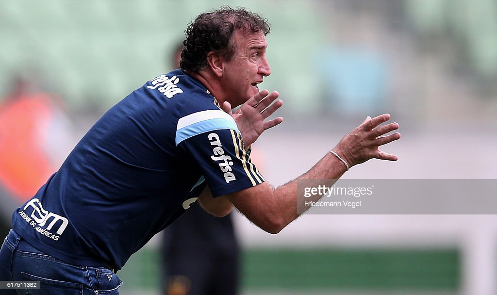 Head coach Cuca of Palmeiras gives advise during the match between Palmeiras and Sport Recife for the Brazilian Series A 2016 at Allianz Parque on October 23, 2016 in Sao Paulo, Brazil.