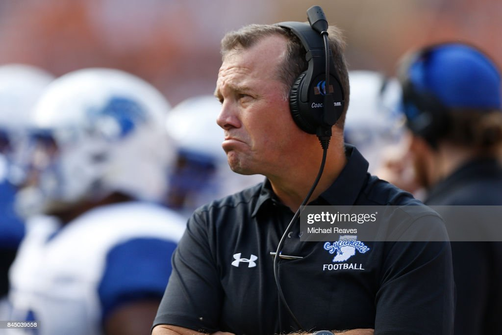 Head coach Curt Mallory of the Indiana State Sycamores looks on during the first half of the game against the Tennessee Volunteers at Neyland Stadium on September 9, 2017 in Knoxville, Tennessee.
