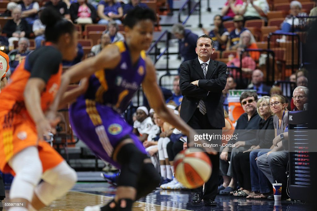 Head coach Curt Miller of the Connecticut Sun on the sideline during the Los Angeles Sparks Vs Connecticut Sun, WNBA regular season game at Mohegan Sun Arena on May 26, 2016 in Uncasville, Connecticut.