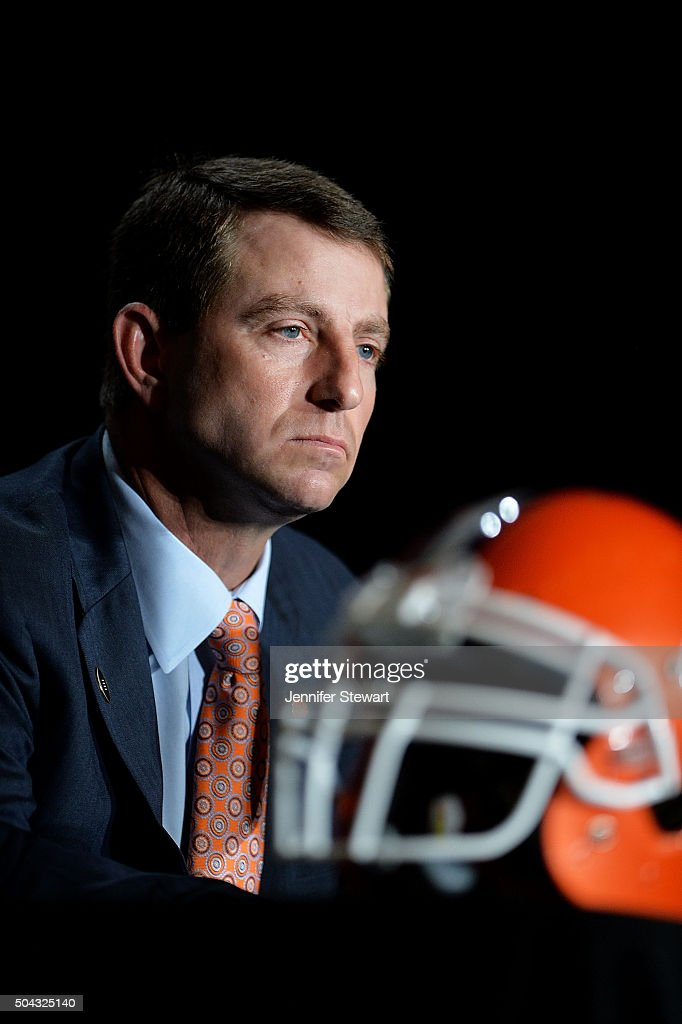 Head coach Dabo Swinney of the Clemson Tigers addresses the media during the Head Coach Press Conference for the College Football Playoff National Championship at JW Marriott Scottsdale Camelback Inn on January 10, 2016 in Scottsdale, Arizona.