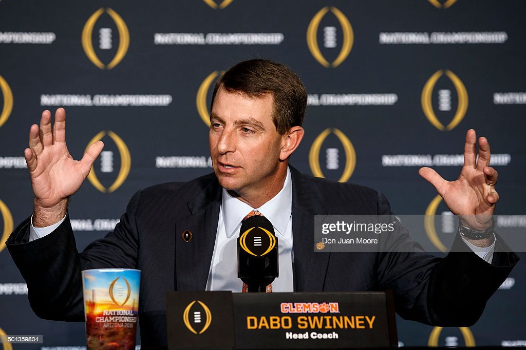 Head Coach Dabo Swinney of the Clemson Tigers addresses the media during the Head Coaches Press Conference before the College Football Playoff National Championship at the JW Marriott Camelback Inn on January 10, 2016 in Scottsdale, Arizona.