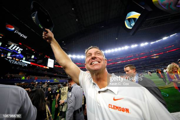 Head coach Dabo Swinney of the Clemson Tigers celebrates after defeating the Notre Dame Fighting Irish during the College Football Playoff Semifinal...