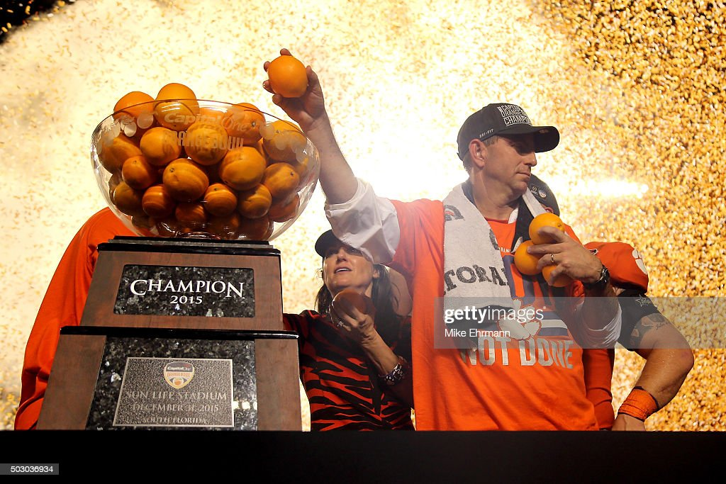 Head coach Dabo Swinney of the Clemson Tigers celebrates after the Clemson Tigers defeat the Oklahoma Sooners with a score of 37 to 17 to win the 2015 Capital One Orange Bowl at Sun Life Stadium on December 31, 2015 in Miami Gardens, Florida.