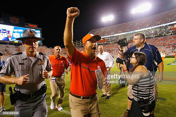 Head coach Dabo Swinney of the Clemson Tigers celebrates after defeating the Auburn Tigers 1913 at Jordan Hare Stadium on September 3 2016 in Auburn...