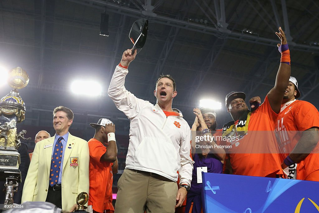 Head coach Dabo Swinney of the Clemson Tigers celebrates after the Clemson Tigers beat the Ohio State Buckeyes 31-0 to win the 2016 PlayStation Fiesta Bowl at University of Phoenix Stadium on December 31, 2016 in Glendale, Arizona.