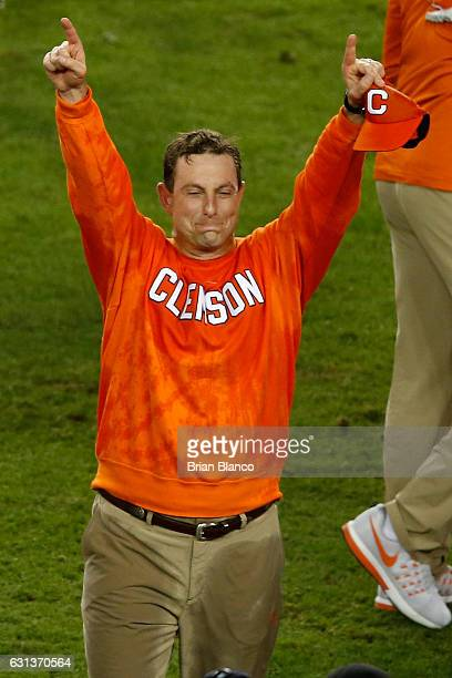 Head coach Dabo Swinney of the Clemson Tigers celebrates after defeating the Alabama Crimson Tide 3531 in the 2017 College Football Playoff National...