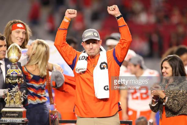 Head coach Dabo Swinney of the Clemson Tigers celebrates his teams 29-23 win over the Ohio State Buckeyes in the College Football Playoff Semifinal...