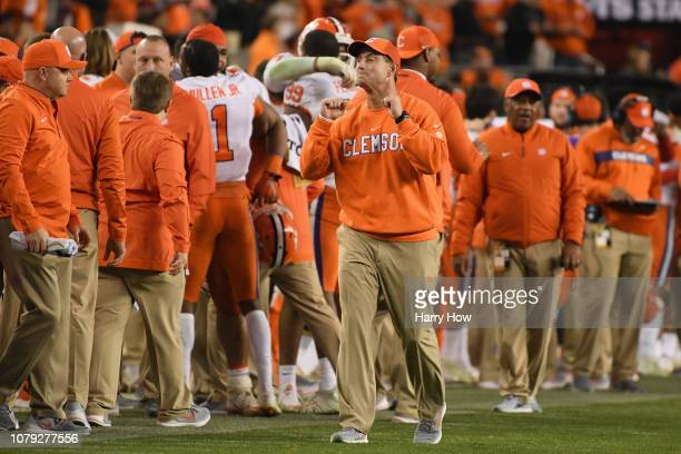 Head coach Dabo Swinney of the Clemson Tigers celebrates late in the game against the Alabama Crimson Tide in the CFP National Championship presented...