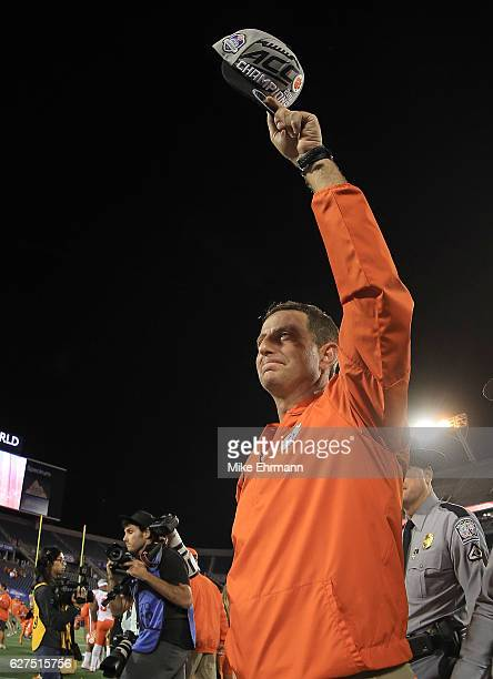 Head coach Dabo Swinney of the Clemson Tigers celebrates winning the ACC Championship against the Virginia Tech Hokies on December 3 2016 in Orlando...