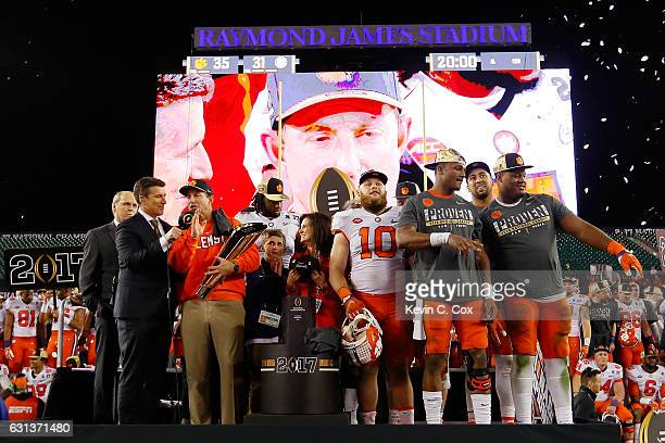Head coach Dabo Swinney of the Clemson Tigers is interviewed after defeating the Alabama Crimson Tide 3531 to win the 2017 College Football Playoff...