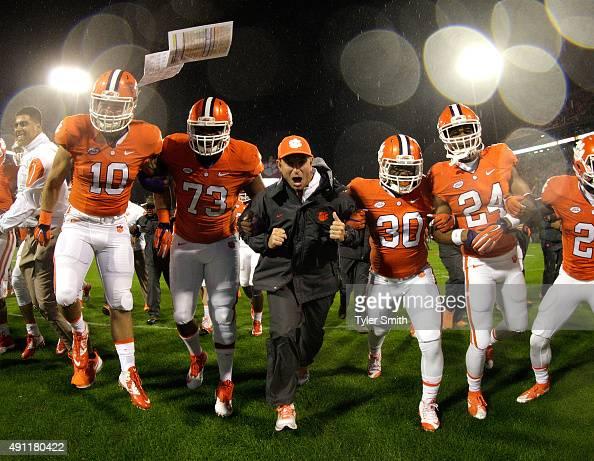 Head Coach Dabo Swinney of the Clemson Tigers leads his ...