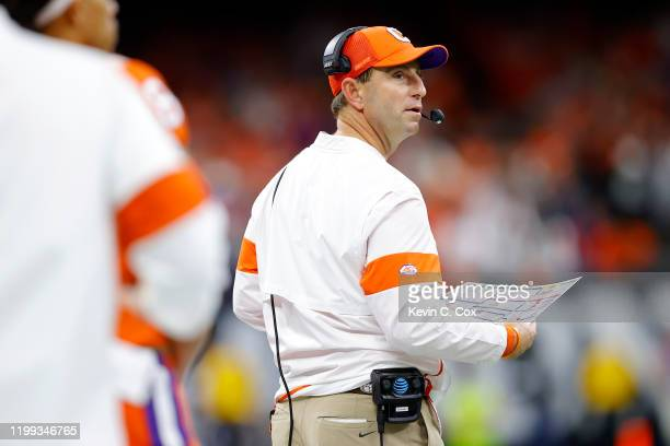 Head coach Dabo Swinney of the Clemson Tigers looks on against the LSU Tigers in the College Football Playoff National Championship game at Mercedes...