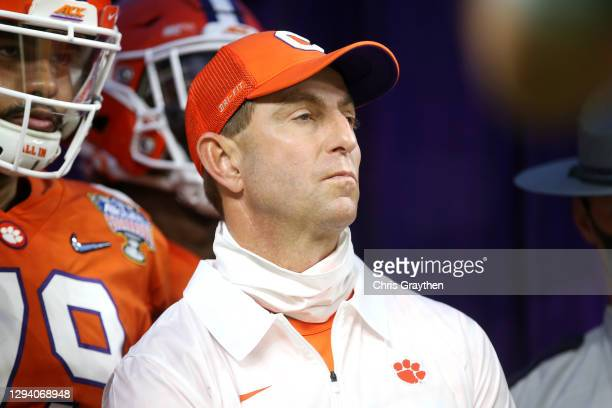 Head coach Dabo Swinney of the Clemson Tigers looks on before the game against the Ohio State Buckeyes during the College Football Playoff semifinal...